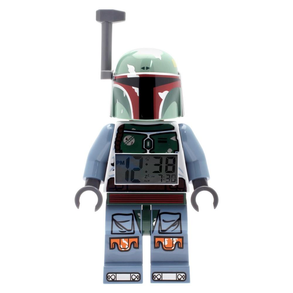 Image of Lego Star Wars Boba Fett Kids Moveable Minifigure Alarm Clock, Green