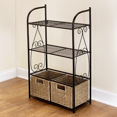 Lakeside Decorative Metal Shelves With 2 Pullout Seagrass Baskets for Bathroom Storage