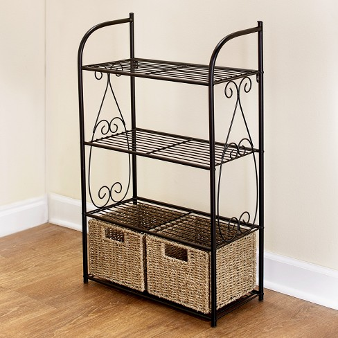 Lakeside Decorative Metal Shelves With 2 Pullout Seagrass Baskets For Bathroom Storage Target