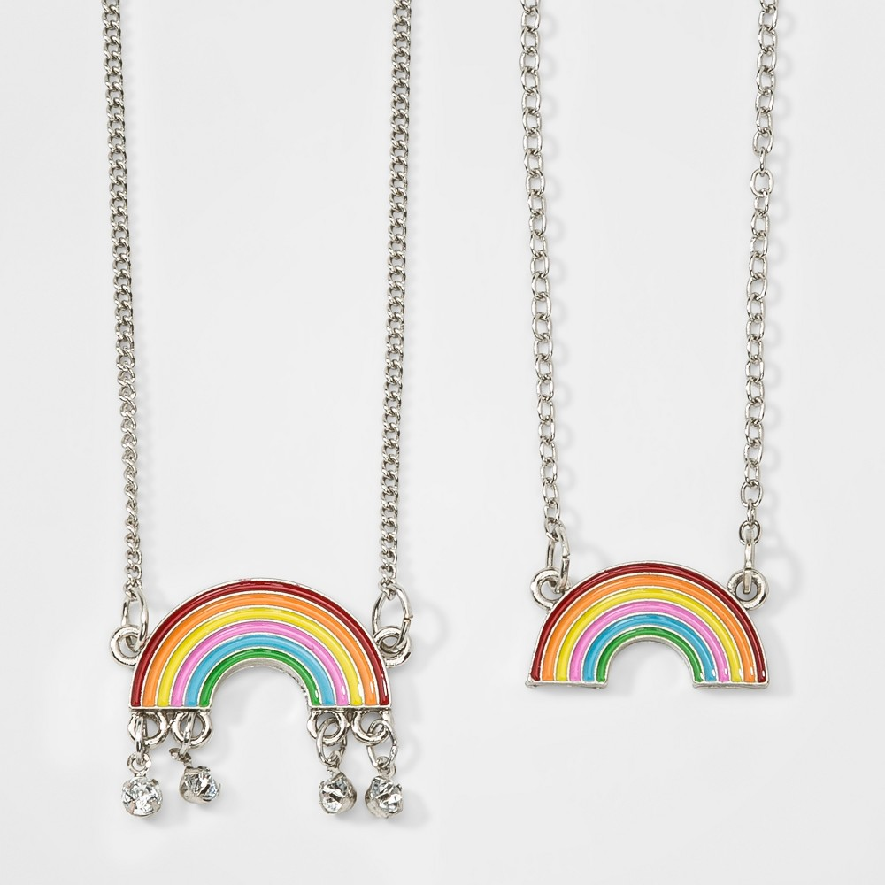 Girls' 2ct Rainbow Necklace & Bracelet Set - Cat & Jack Silver