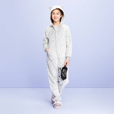 Girls' Snow Leopard Union Suit   More Than Magic™ White/Gray by More Than Magic