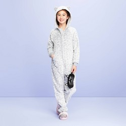 Girls' Snow Leopard Union Suit - More Than Magic™ White/Gray