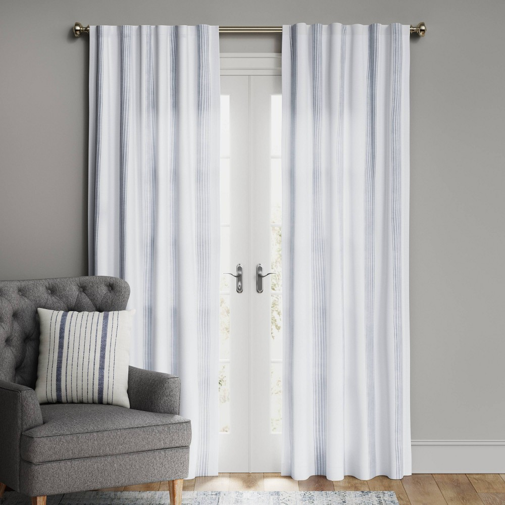 95 34 X50 34 Block Striped Blackout Window Curtain Panel White Blue Threshold 8482