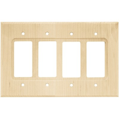 Franklin Brass Square Quad Decorator Wall Plate Unfinished Wood Brown