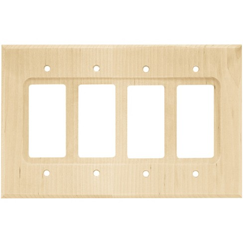 Wood Square Quad Decorator Wall Plate Unfinished Wood - Franklin Brass - image 1 of 2
