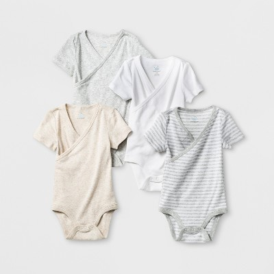 Baby 4pk Short Sleeve Crossover Front Bodysuit Gray/White 0-3M - Cloud Island™