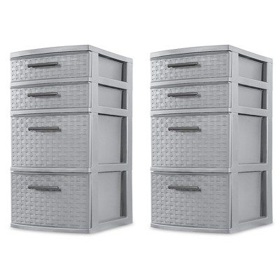 Sterilite 26226A02 Plastic 4 Drawer Organizer Storage Tower with Medium Weave Drawer Fronts and Easy-Pull Handles, Gray (2 Pack)