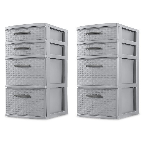 Sterilite 26226A02 Plastic 4 Drawer Organizer Storage Tower with Medium Weave Drawer Fronts and Easy-Pull Handles, Gray (2 Pack) - image 1 of 4