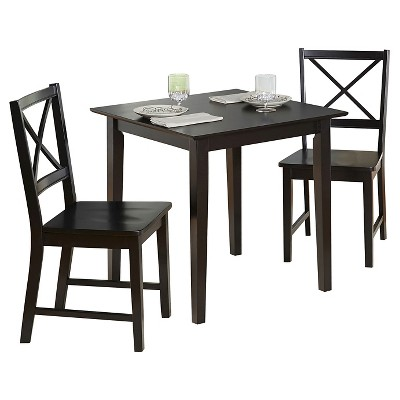 3pc Cross Back Dining Set Black - Buylateral