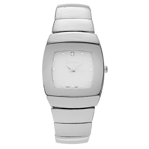 Men's Geneva Platinum Rhinestone Accent Square Face Link Watch - White/Silver - image 1 of 3