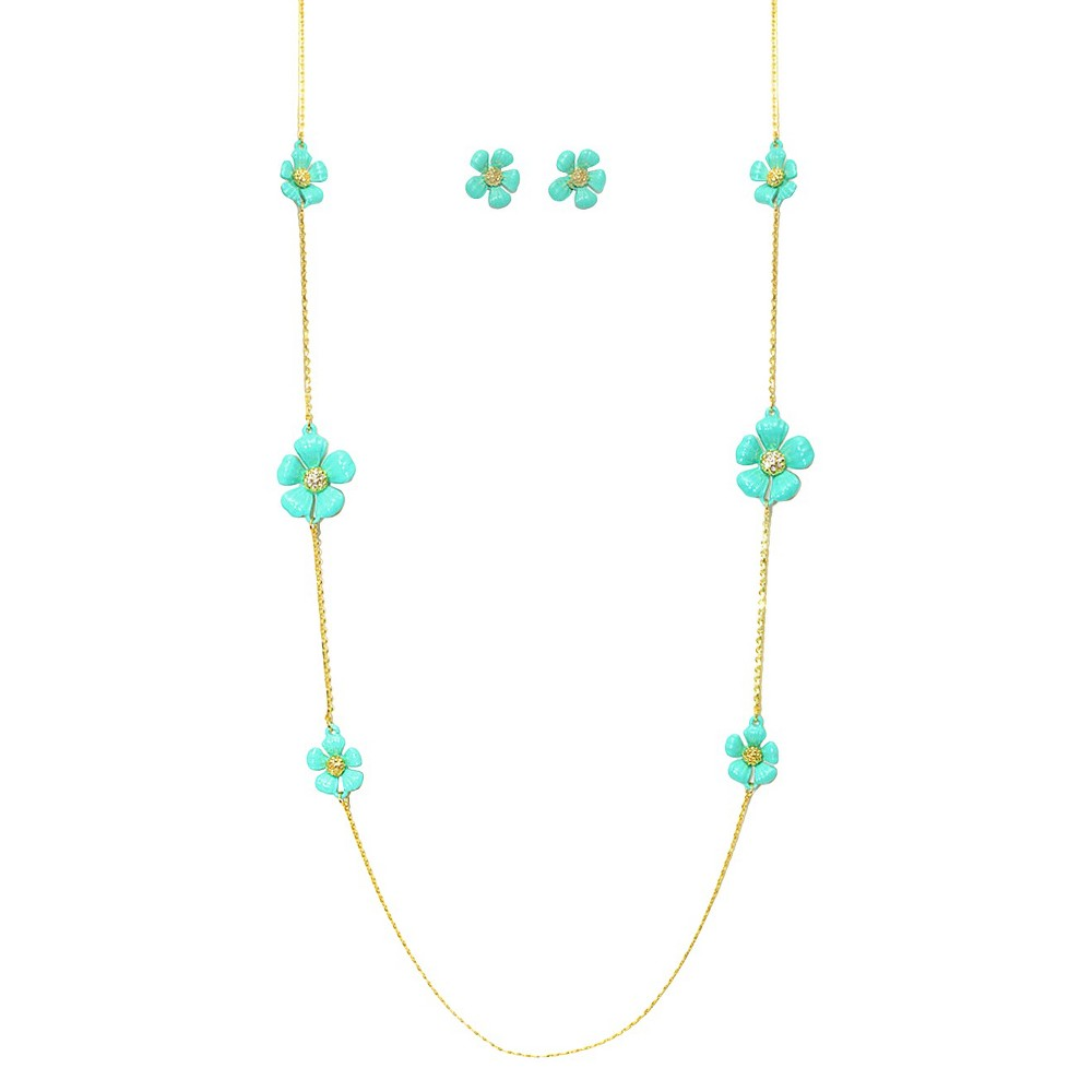 Women's Zirconite Daisy Flowers and Crystals Enamel and Gold Electroplated Station Necklace and Earrings Set - Turquoise