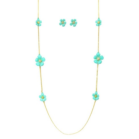 Women's Zirconite Daisy Flowers and Crystals Enamel and Gold Electroplated Station Necklace and Earrings Set - Turquoise - image 1 of 1