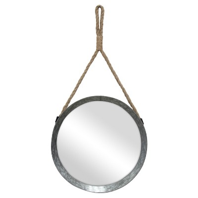 "11.9"" Suspended Round Galvanized Metal Wall Mirror with Rope Hanging Loop Brown/Silver - Stonebriar Collection"