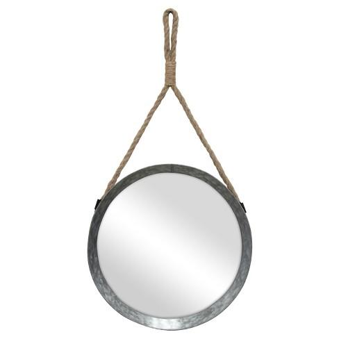 11 9 Suspended Round Galvanized Metal, Round Silver Wall Mirror Metal