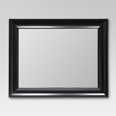 Rectangle Flat Decorative Wall Mirror Black - Threshold™