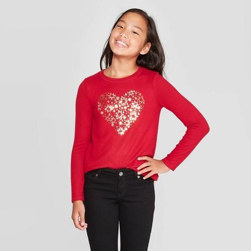 Girls' Heart Cozy Pullover - Cat & Jack™ Dark Red - image 1 of 3