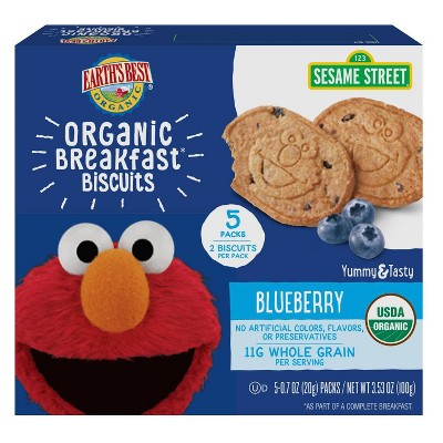 Earth's Best Sesame Street Organic Breakfast Biscuits Blueberry - 5ct/0.7oz Each