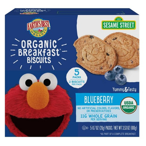 Earth's Best Sesame Street Organic Breakfast Biscuits Blueberry - 5ct/0.7oz Each - image 1 of 4