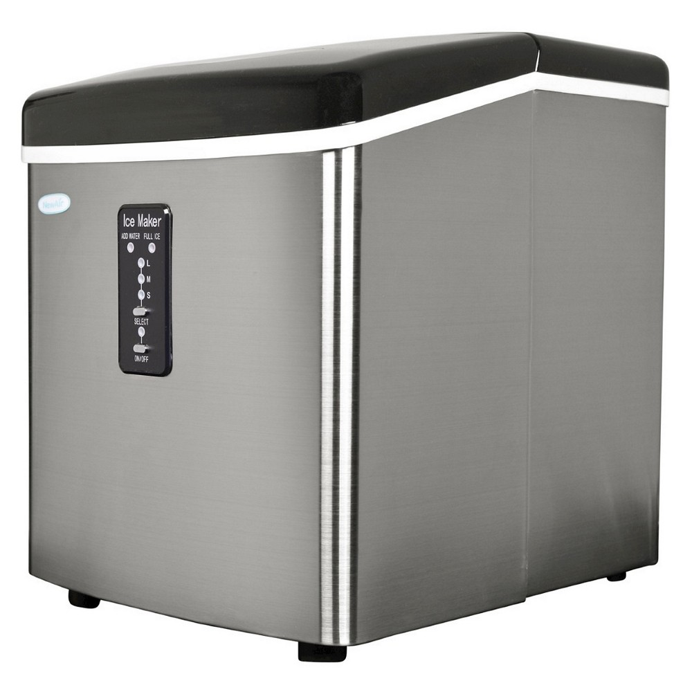 Image of NewAir 28 lbs. Portable Ice Maker - Stainless Steel AI-100, Silver
