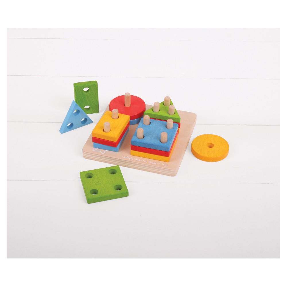 Bigjigs Toys First Four Shape Sorter Wooden Developmental Toy, Multi-Colored