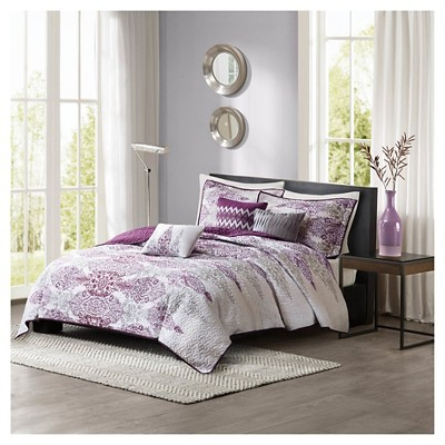Reza 6 Piece Quilted Coverlet Set- Purple (King/ Cal King )