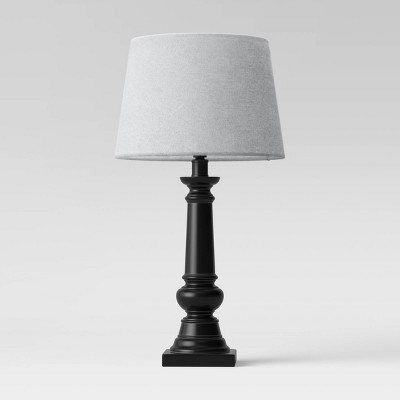 Small Column Lamp Linen Shade Black/Gray - Threshold™