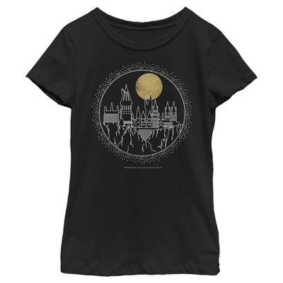 Girl's Harry Potter Hogwarts Line Art Moonrise T-Shirt
