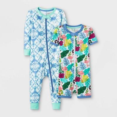 Baby Girls' 2pk Tropical Tie-Dye Union Suit - Cat & Jack™ Blue