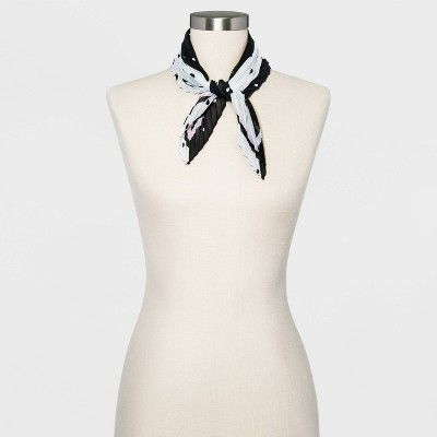 Women's Pleated Polka Dot Chiffon Neckerchief - A New Day™ Black One Size