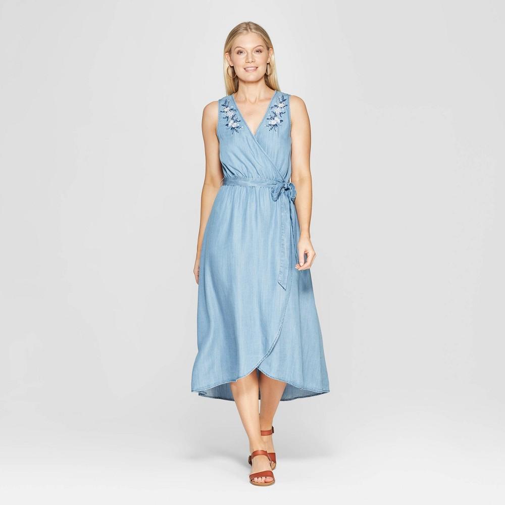 Women's Sleeveless V-Neck Wrap Midi Dress - Knox Rose Medium Blue Xxl