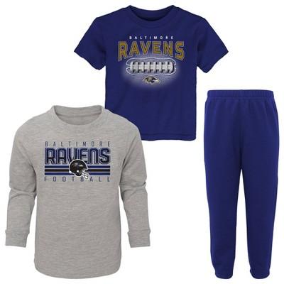 NFL Baltimore Ravens Toddler Boys' Gametime Fun T-Shirt & Pants Set 3pk