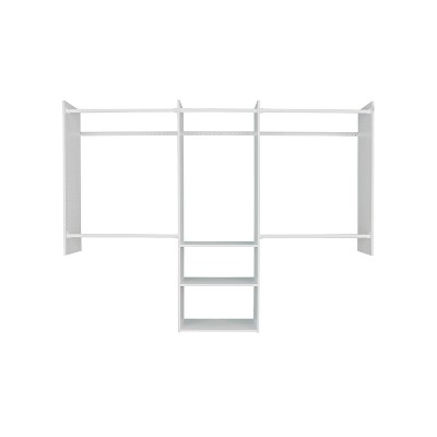 Easy Track RB1460ON.PK Deluxe Starter Closet Storage Wall Mounted Wardrobe Organizer System Kit with Shelves and Rods, White