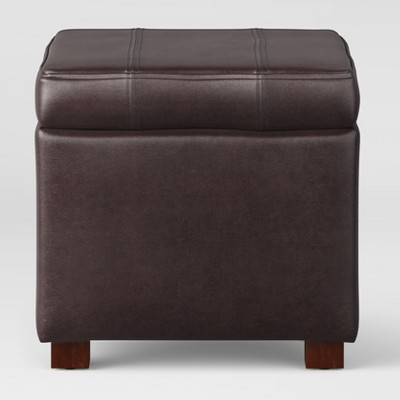 Single Storage Ottoman Faux Leather Brown - Threshold™