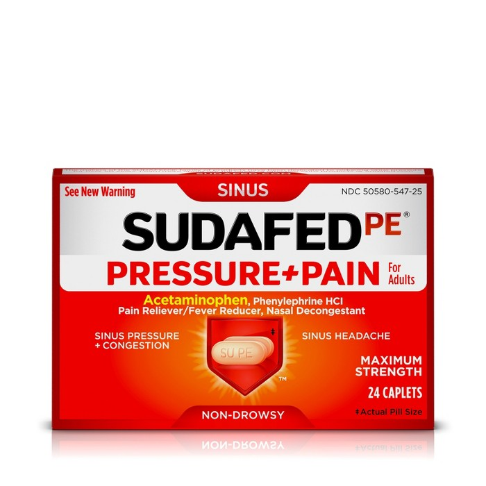 Sudafed PE Pressure + Pain Caplets - 24ct - image 1 of 7