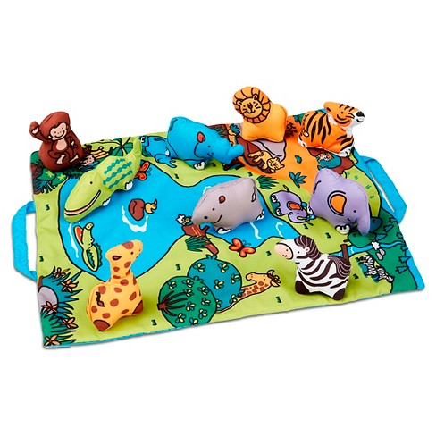 Melissa & Doug Take-Along Folding Wild Safari Play Mat (19.25 x 14.5 inches) With 9 Animals - image 1 of 3