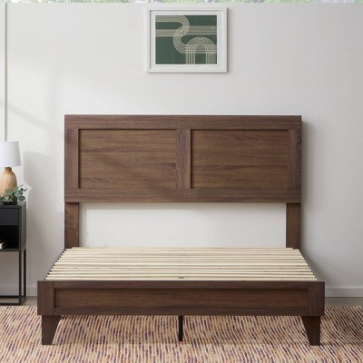 King Lily Double Framed Wood Platform Bed with Headboard Southern Oak - Brookside Home