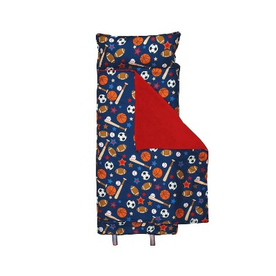 Stephen Joseph SJ770291 Kids All Over Print Nap Mat with Built In Fuzzy Blanket, Pillow, Over Shoulder Carrying Straps, Navy