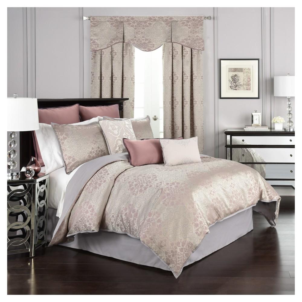 Purple & Gray Floral Comforter Set (Queen) 4pc - Beautyrest, Gray Purple