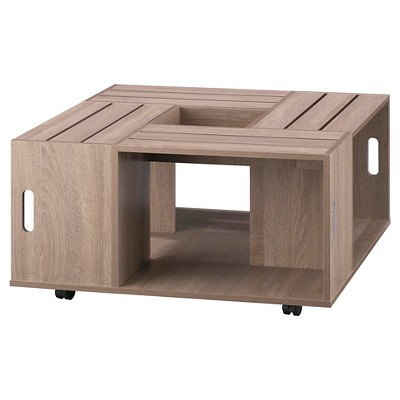 Roseline Modern Crate Box Inspired Coffee Table Weathered White - HOMES: Inside + Out