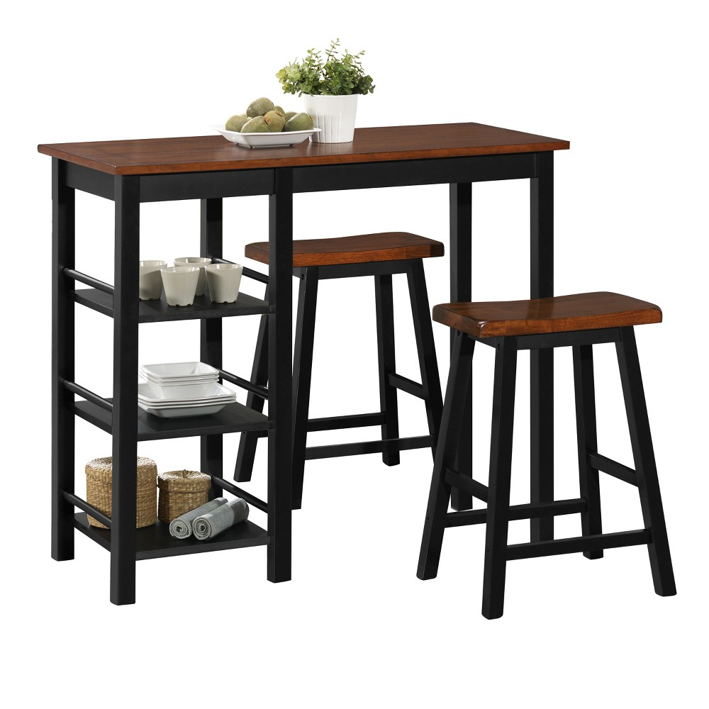 Image of 3pc Counter Height Wood Bistro With Storage - Brown - Home Source Industries