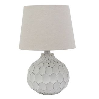 Being Faceted Table Lamp with Linen Shade White - Decor Therapy