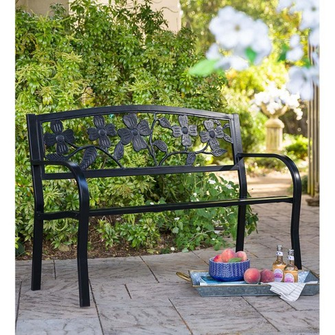 Awesome Dogwood Metal Outdoor Garden Bench 50 L X 24 W X 34 H Bronze Plow Hearth Bralicious Painted Fabric Chair Ideas Braliciousco