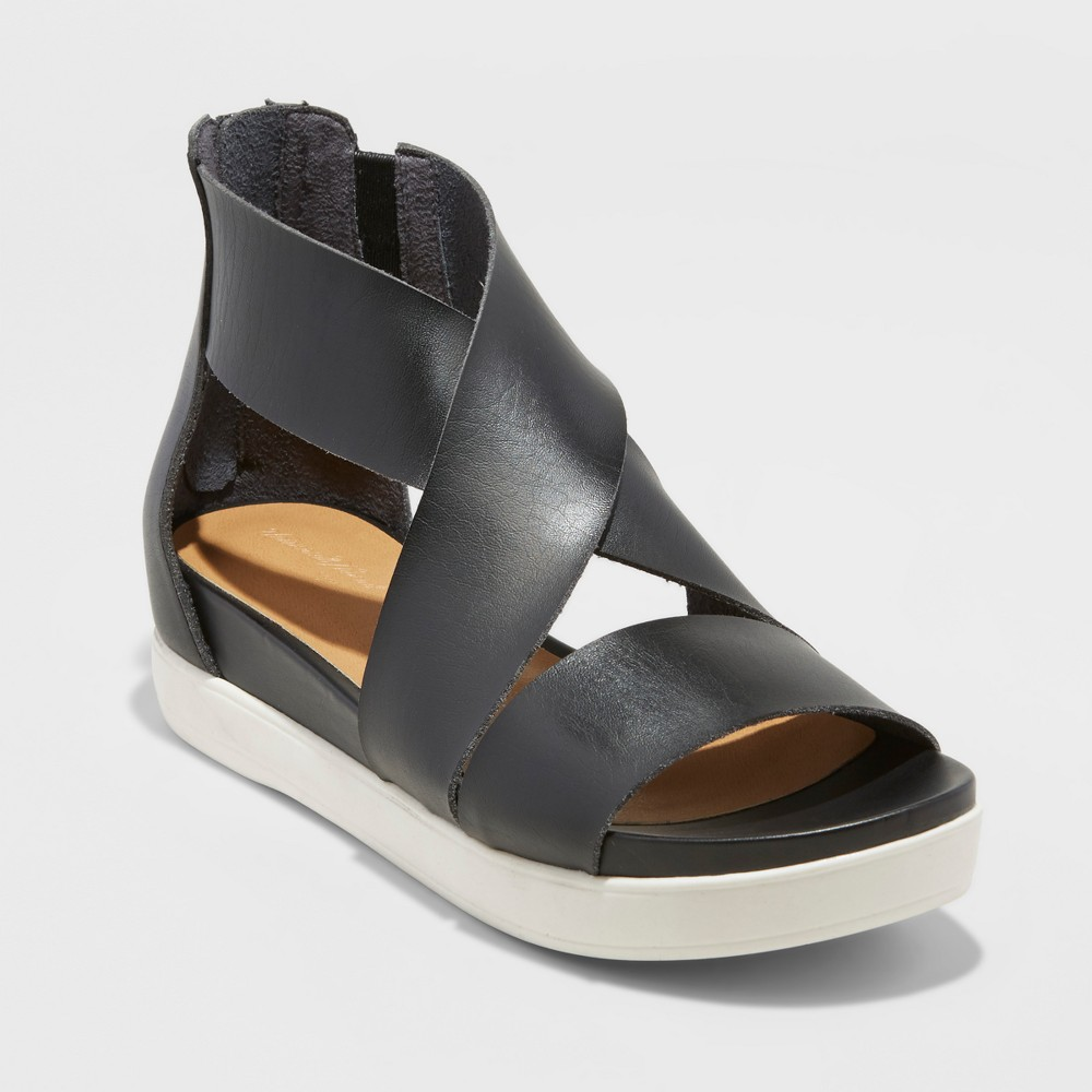 Women's Hummingbird Ankle Strap Sandals - Universal Thread Black 7.5