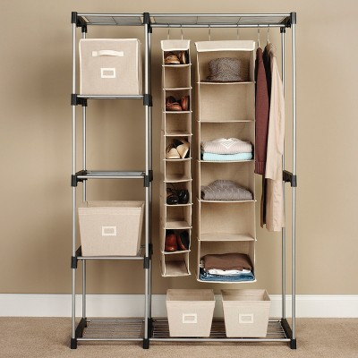 double rod stand alone closet system threshold target rh target com Standalone Bathroom Cabinets Standalone Corner Shelf