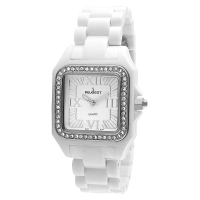 Women's Peugeot Crystal Bezel Acrylic Watch with crystals from Swarovski - White