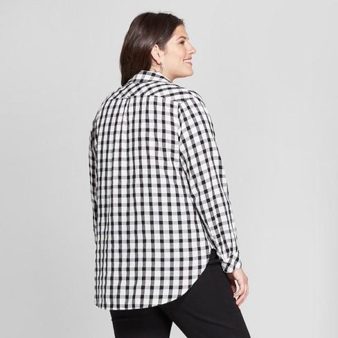 f9b6f98bc86 Women s Plus Size Long Sleeve Plaid No Gap Button-Down Shirt - Ava   Viv™  Black White   Target