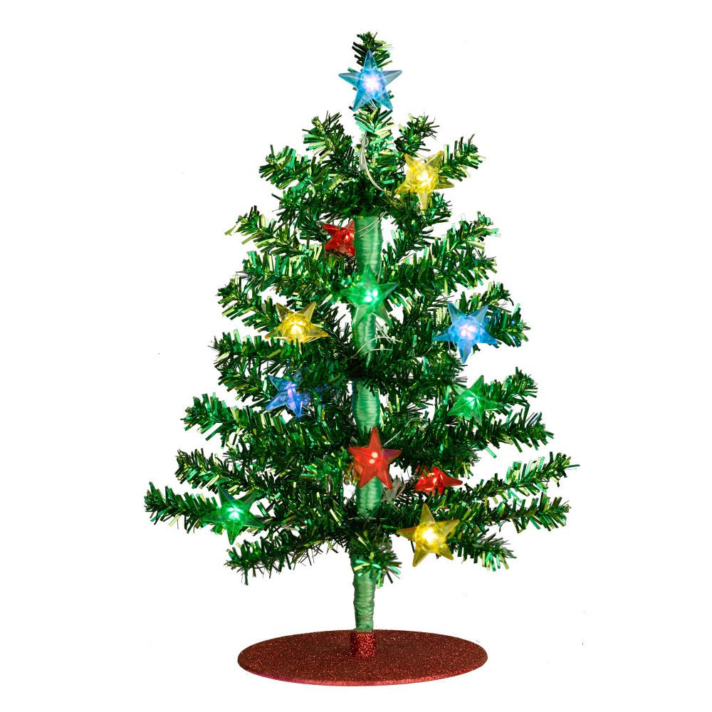 Philips 1ct Christmas Led Green Tinsel Tree Star Covers Usb Multicolored
