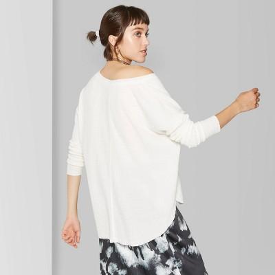 Women's Long Sleeve V-Neck Cozy T-Shirt - Wild Fable™ Almond Cream
