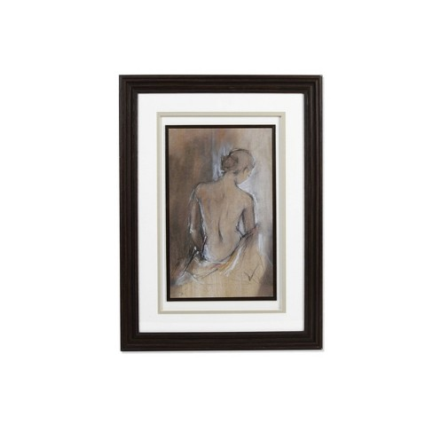 """16"""" x 22"""" Female Silhouette Framed and Matted Wall Art Brown - New View - image 1 of 3"""