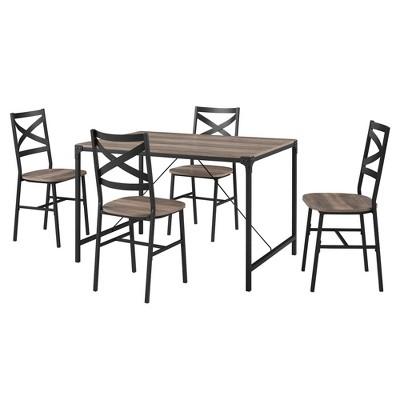 5pc Angle Iron Dining Set with Back Chairs - Saracina Home